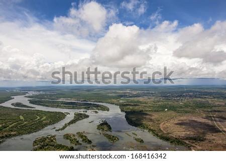 The Zambezi river in Zambia.  - stock photo