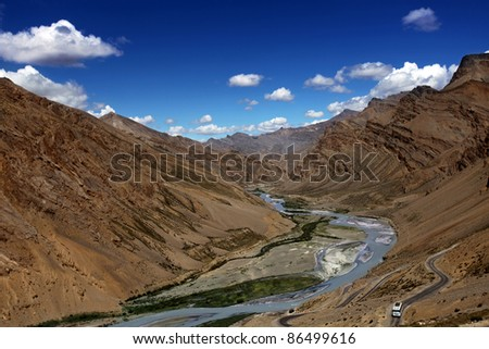 The Zanskar valley with river. Himalayan scenic. India.