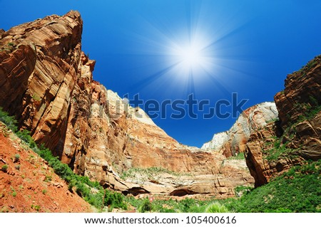 The Zion National Park panorama - stock photo
