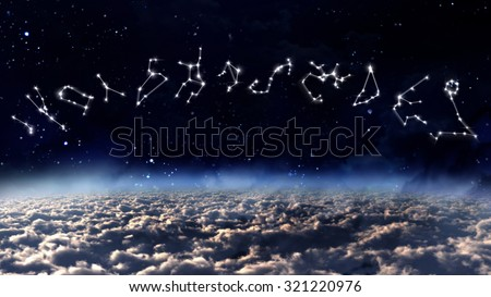 the zodiac sign of the beautiful white stars on the background night sky - stock photo