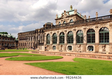 The Zwinger (Der Dresdner Zwinger) is a palace in Dresden, eastern Germany, built in Baroque style. It served as the orangery, exhibition gallery and festival arena of the Dresden Court.