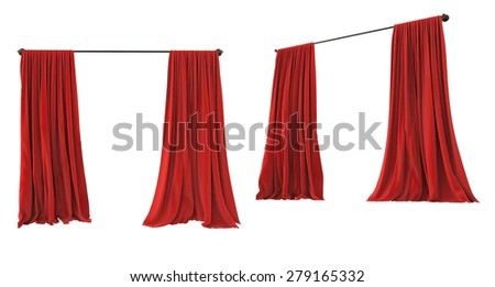 Theater cinema stage red curtains open.Different angle perspective isolated on white background.  - stock photo