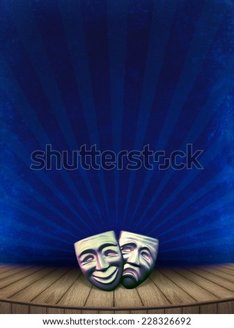 Theater concept with masks for art design of theatrical poster. Vintage background with old theater stage on grange texture. The masks of actor's play style - tragic and comedy. - stock photo