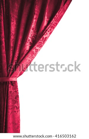 theater curtain isolated on white - stock photo