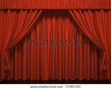 Theater curtain.  Presentation. Movies.