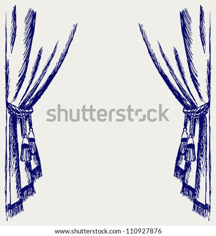 Theater curtain. Raster - stock photo