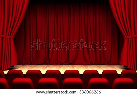 Theater curtain  with chairs - stock photo