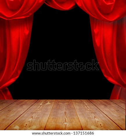 theater curtains and wood floor - stock photo