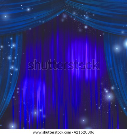 Theater Curtains 3D Render - stock photo