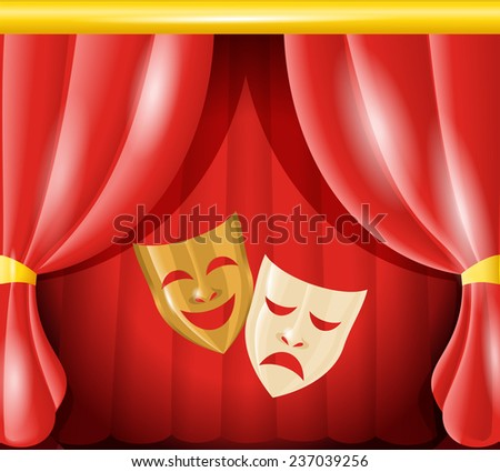 Theater happy and sad masks on red curtain background  illustration - stock photo