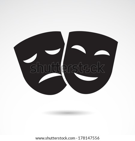 Theater icon with happy and sad masks.  - stock photo