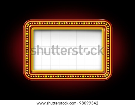 Theater marquee blank neon lights sign with glowing Illuminated announcement billboard to promote and communicate an important message to the public on a black night background. - stock photo