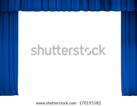 theater or cinema blue curtain frame isolated on white - stock photo