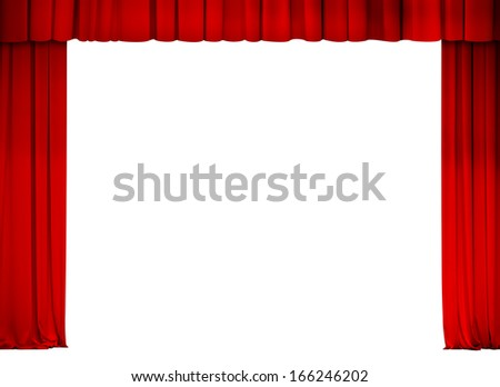 theater or cinema red curtain frame isolated on white - stock photo