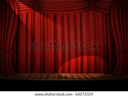 Theater red curtain - stock photo