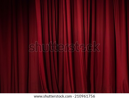 theater red curtain background - stock photo