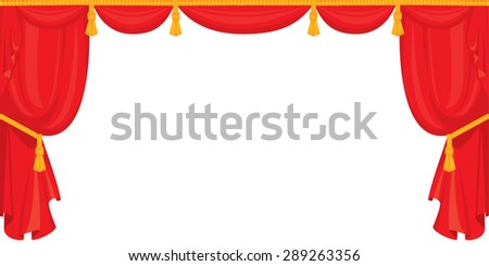 Theater red velvet curtain for stage in retro style, isolated on white background. Raster version - stock photo