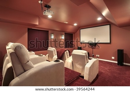 Theater room in upscale home - stock photo