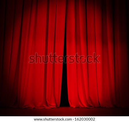 theater stage red curtain with spotlight background - stock photo