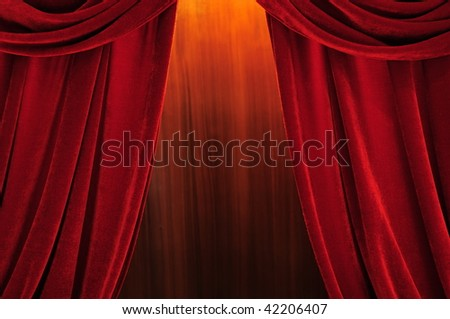 Theater stage red curtains with light and shadow - stock photo