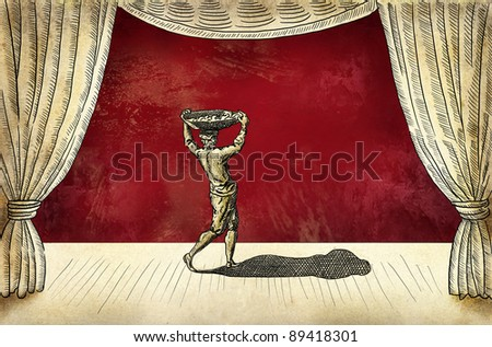 Theater stage with actor - stock photo