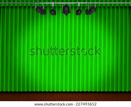 Theater stage with curtains and spotlights  - stock photo