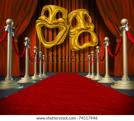 Theater stage with gold comedy and tragedy symbol on red velvet cinema curtain drapes and brass dividers on rich carpet.