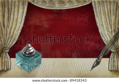 Theater stage with ink pot and pen - stock photo