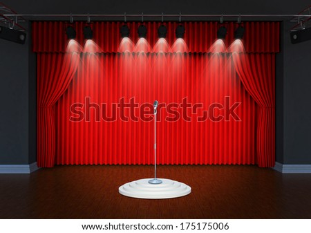 Theater stage with microphone and spotlights  - stock photo