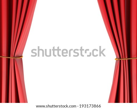 Theater stage with red curtain - stock photo