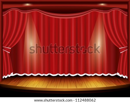 Theater stage with red curtain and spotlight. Raster version - stock photo