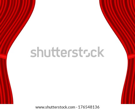Theater stage with red curtain and white background. Raster version - stock photo