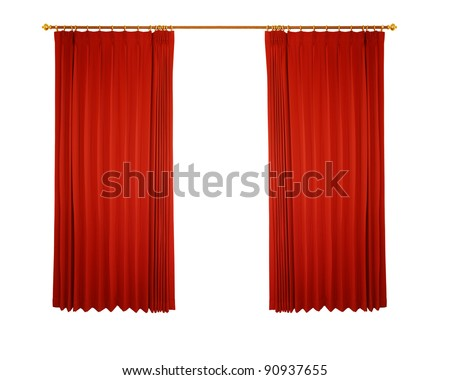 Theater stage with red curtain (with path) - stock photo