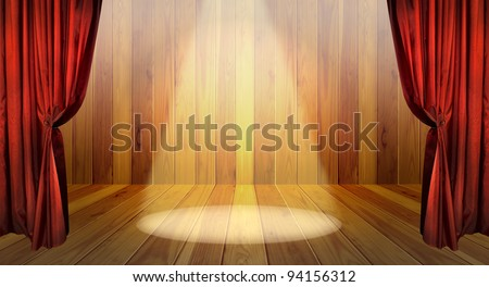 Theater stage with red curtains and spotlights on the stage wooden floor. Red stage curtain open on premiere. - stock photo