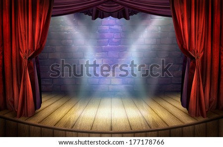 Theater stage with red curtains and spotlights. Theatrical scene in the light of searchlights, the interior of the old theater. Classical theater scene for design in showbiz. - stock photo