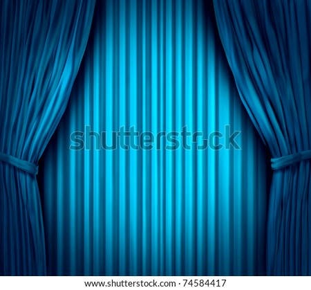 Theater stage with spot light on blue velvet cinema curtain drapes.