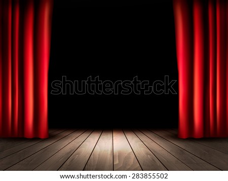 Theater stage with wooden floor and red curtains. - stock photo
