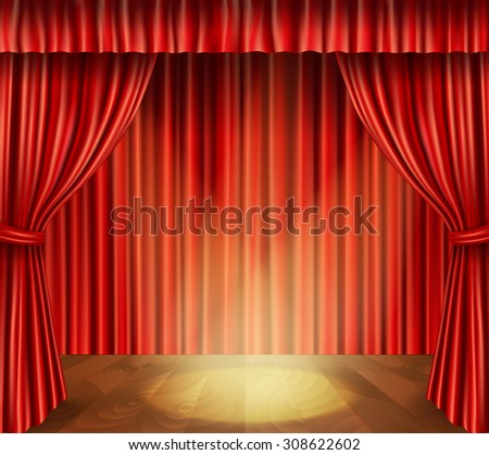 Theater stage with wooden floor red velvet retro style curtain and spotlight background  illustration