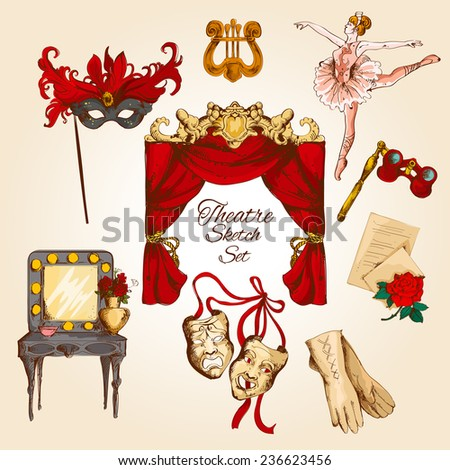 Theatre acting performance colored sketch decorative icons set with ballerina curtain gloves isolated  illustration - stock photo