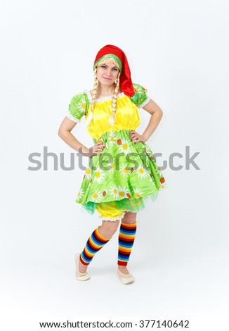 Theatre actress in fairy tale costume of lady dwarf on white - stock photo