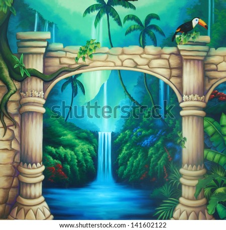 theatre backdrop featuring a rainforest and overgrown buildings - stock photo