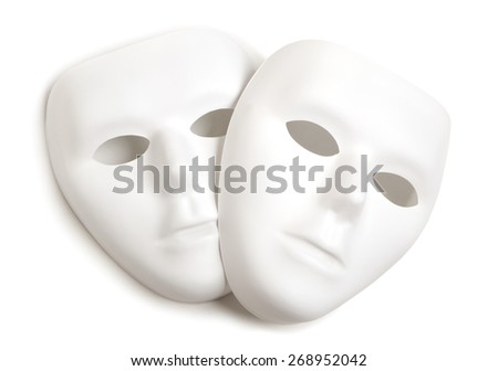 Theatre concept with the white masks, isolated on a white background - stock photo