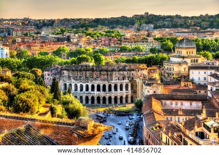 Theatre Marcellus, view from Capitoline Hill - Rome, Italy - stock photo
