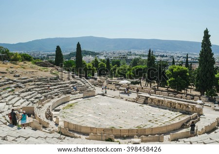 Theatre of Dionysus and Acropolis Museum, cityscape of athens - stock photo