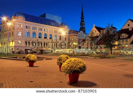Theatre of Russian drama on the Livu square in Riga, Latvia. - stock photo