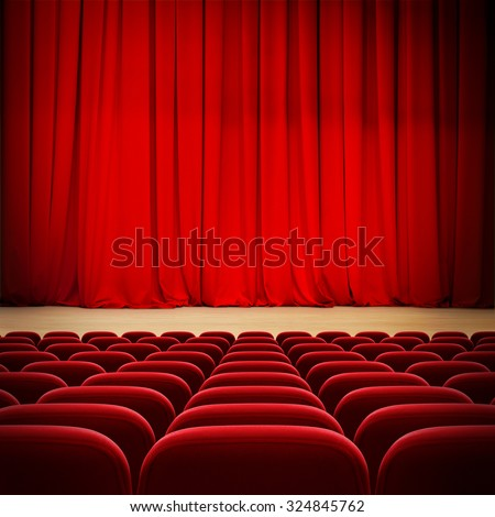 theatre red curtain on stage with red velvet seats - stock photo