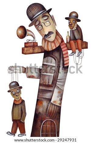 Theatre with Marionettes - stock photo