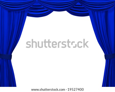 Theatrical curtain of blue color. Object over white - stock photo