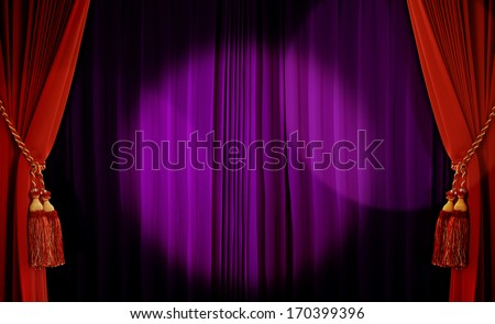 Theatrical curtain of red and purple color   - stock photo