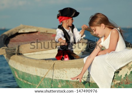 Theatrical performance of the pirates outdoors - stock photo